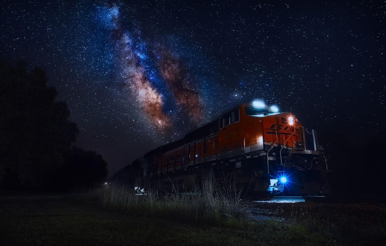 Photo wallpaper the sky, stars, light, night, lights, train, the milky way