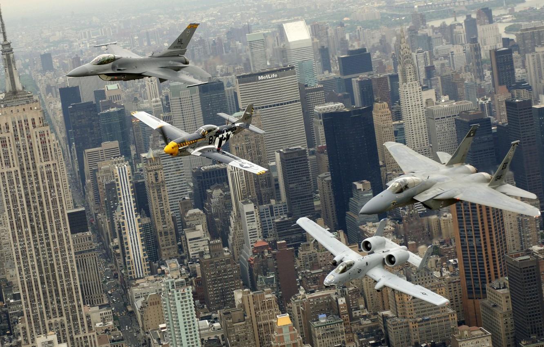 Photo wallpaper the city, New York, aircraft, parade