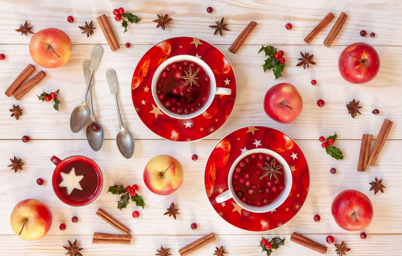 Photo wallpaper berries, apples, Christmas, fruit, cinnamon, Christmas, winter, cup, fruit, berries, tea, apples, decoration, cinnamon, Cup …