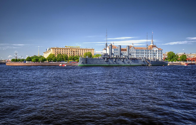 Photo wallpaper the sky, the sun, river, ship, home, Saint Petersburg, Aurora, Russia, promenade, Neva