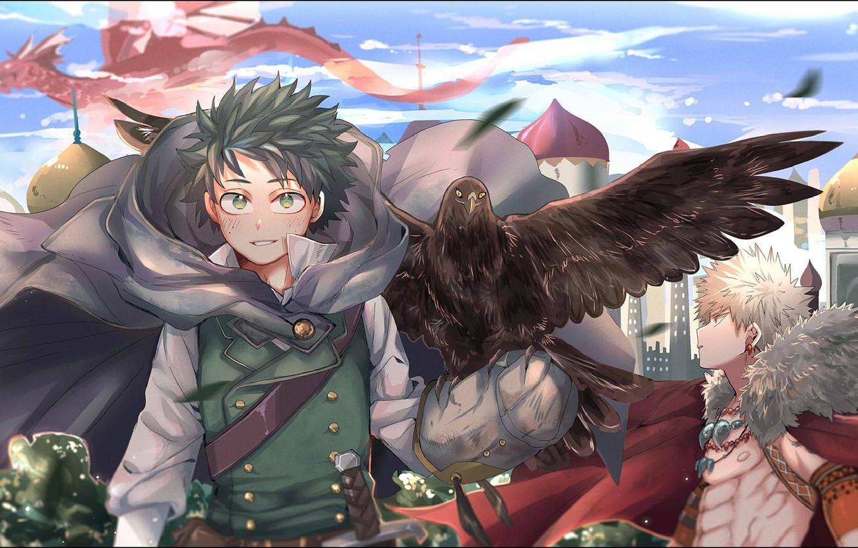 Photo wallpaper bird, Boku no Hero Academy, Midori Isuku, My heroic academia, Bakuga Katsuki, Isuku Midori