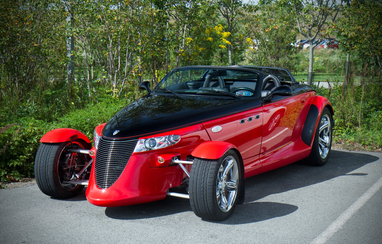 Photo wallpaper red, Roadster, sports car, Chrysler Corporation, Plymouth Prowler