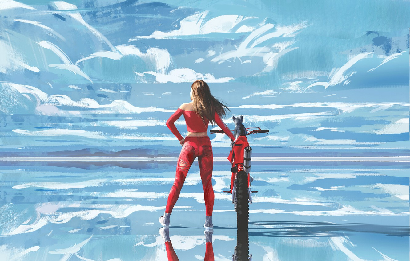 Photo wallpaper the sky, water, girl, clouds, pose, reflection, back, art, costume, motorcycle