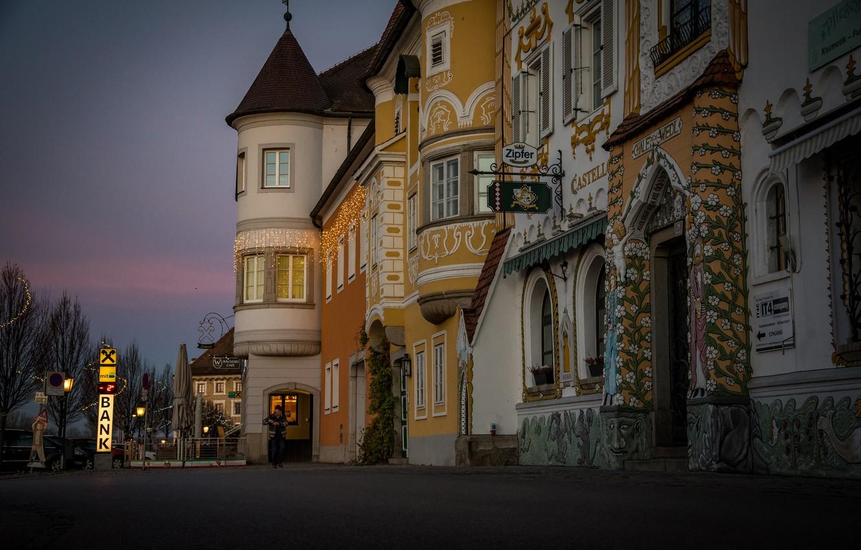 Photo wallpaper the city, street, building, home, morning, Austria, Mauthausen