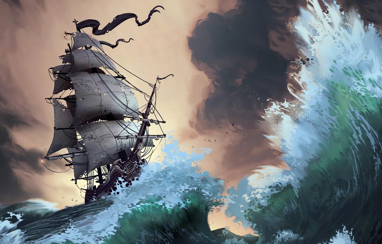 Photo wallpaper waves, fantasy, storm, pirate ship, artist, ship, digital art, artwork, fantasy art, sails, sailing ship, …