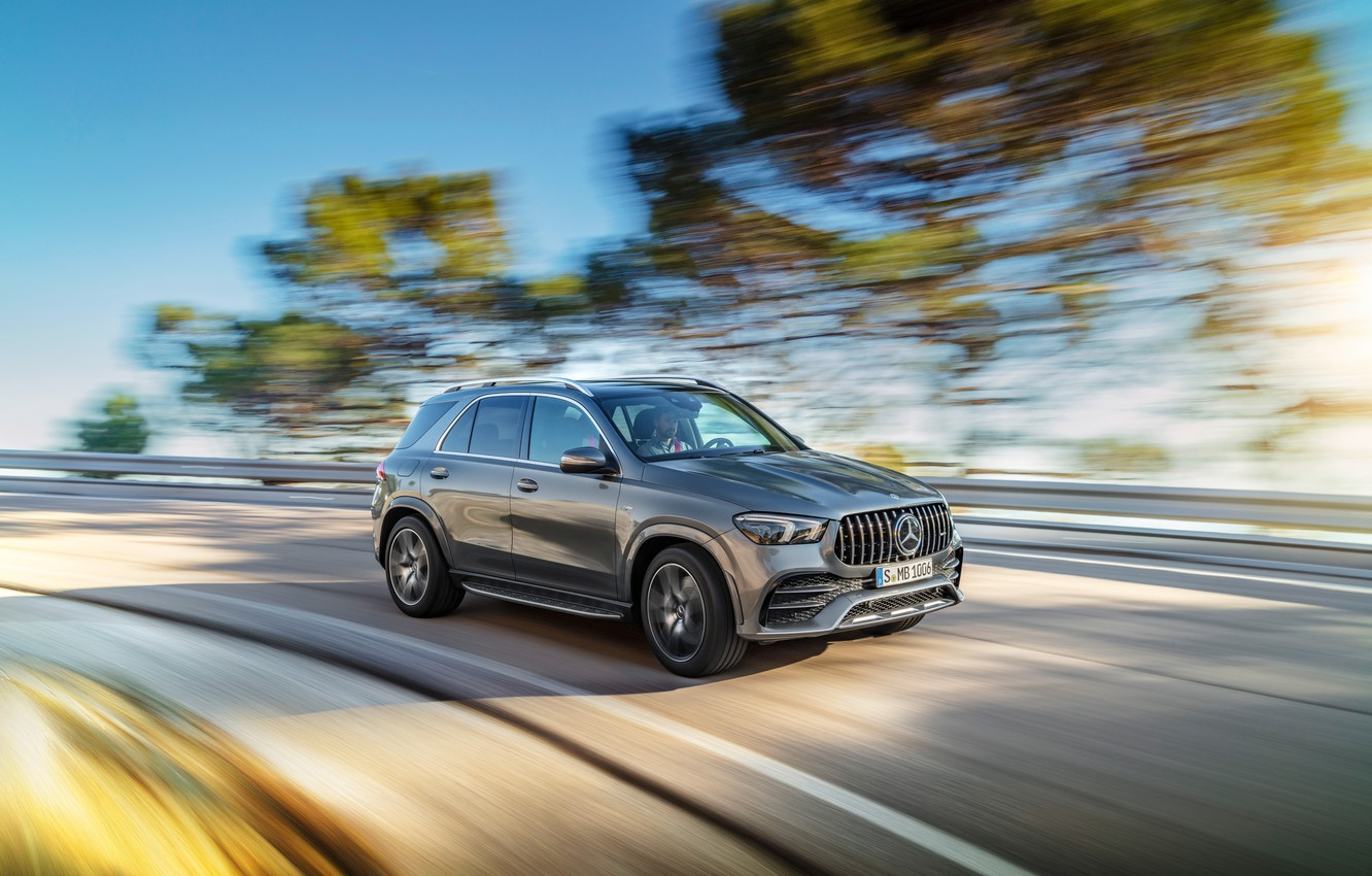 Photo wallpaper machine, trees, movement, Mercedes-Benz, speed, turn, crossover, Mercedes-AMG, GLE 53, 4Matic+