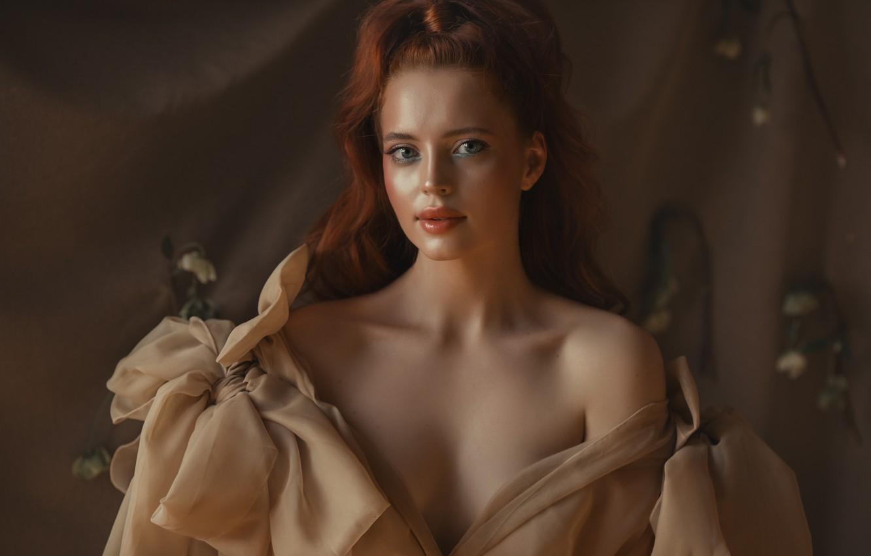 Photo wallpaper look, neckline, red, Valeriya Mytnik