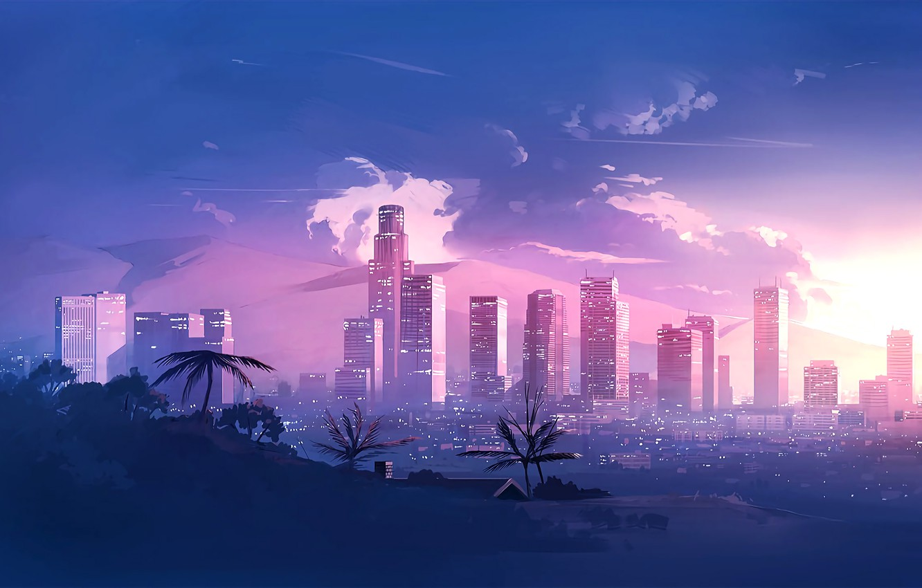 Wallpaper Music The City Style Landscape 80s Style