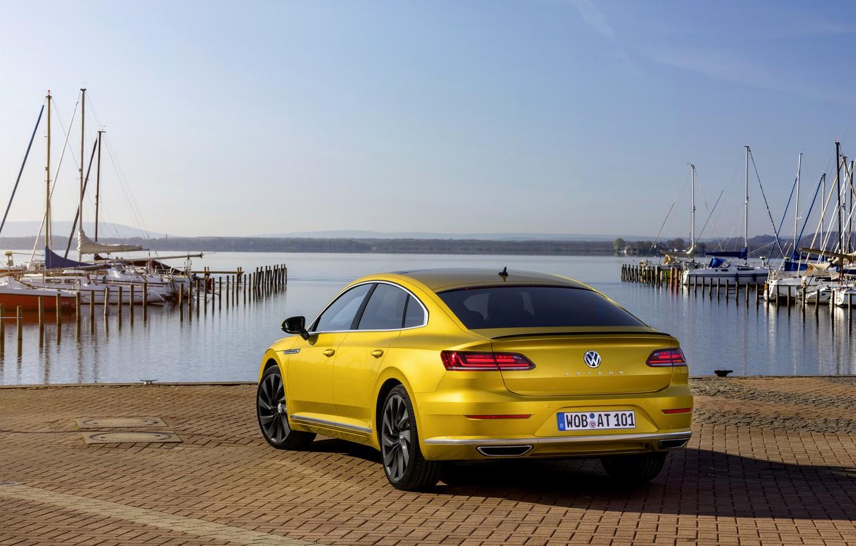 Photo wallpaper water, yellow, shore, Volkswagen, 2018, R-Line, liftback, 2017, Arteon