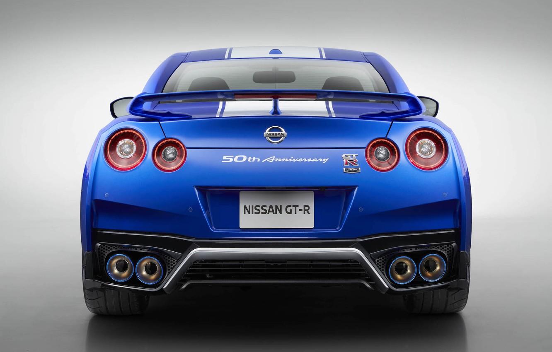 Photo wallpaper Lights, Blue, Sports car, Back, 50th Anniversary Edition, Japan Car, 2020 Nissan GT-R