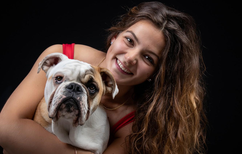 Photo wallpaper face, girl, smile, background, hair, dog