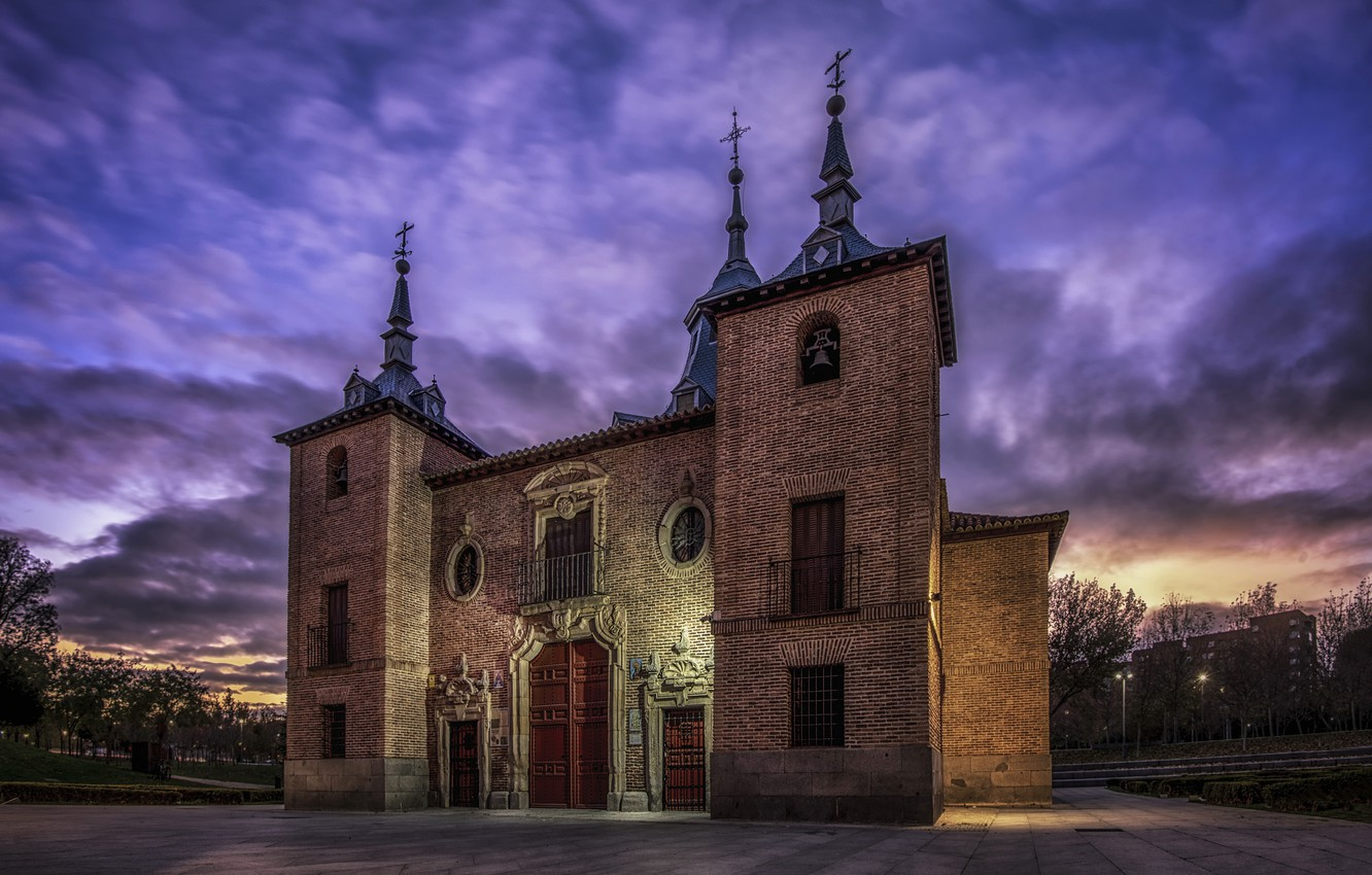 Photo wallpaper night, the city, Madrid, Hermitage of the Virgin of the Port