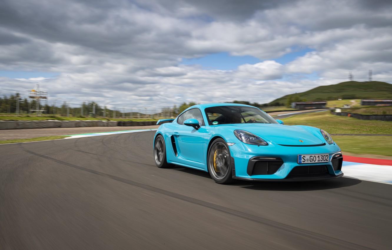 Photo wallpaper Porsche, Speed, Cayman, GT4, 2019, Porsche 718 (982) Cayman GT4, Thras