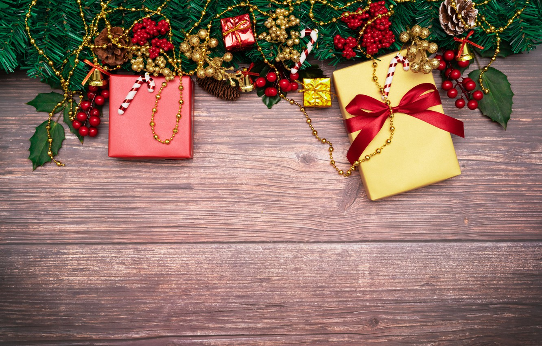 Photo wallpaper decoration, New Year, Christmas, gifts, Christmas, wood, New Year, decoration, xmas, gift box, Merry, fir ...