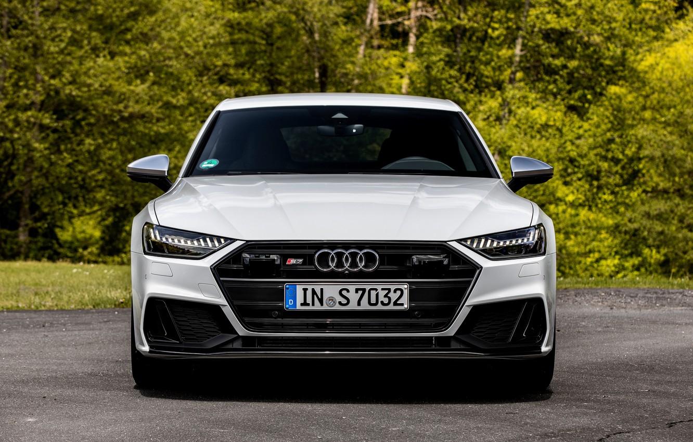 Photo wallpaper white, Audi, front view, Audi A7, 2019, S7 Sportback