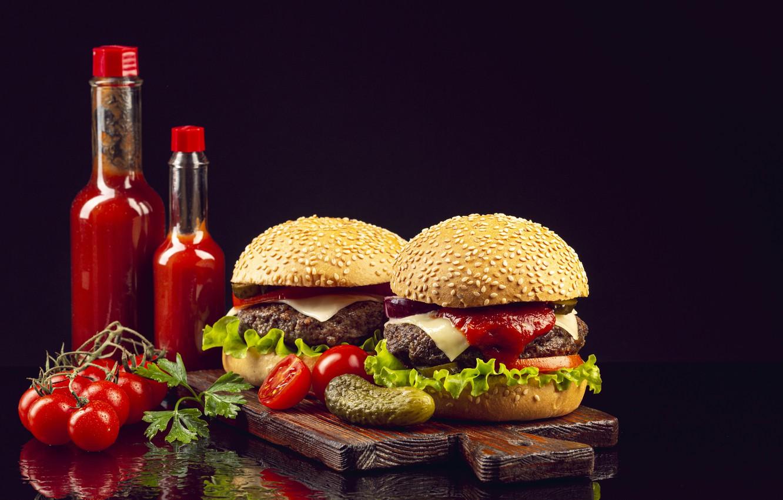 Photo wallpaper bottle, black background, hamburger, ketchup, cucumbers