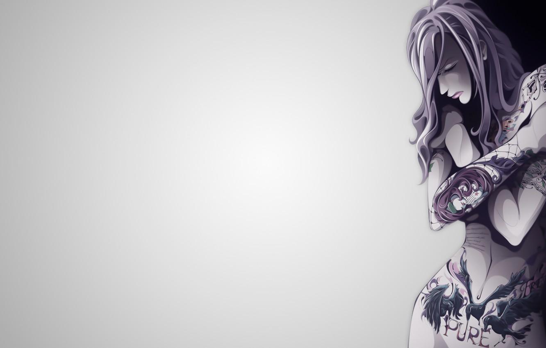 Photo wallpaper vector, Girl, minimalism, body, tattoos, illustration, simple background, backgound