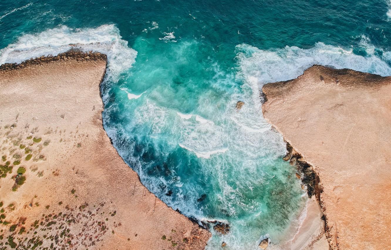 Photo wallpaper sea, wave, landscape, nature, shore, coast, vegetation, landscape, nature