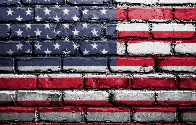 Photo wallpaper red, wall, USA, white, blue, art, textures, flag, paint, brick, America, symbolism, street art, 4k …