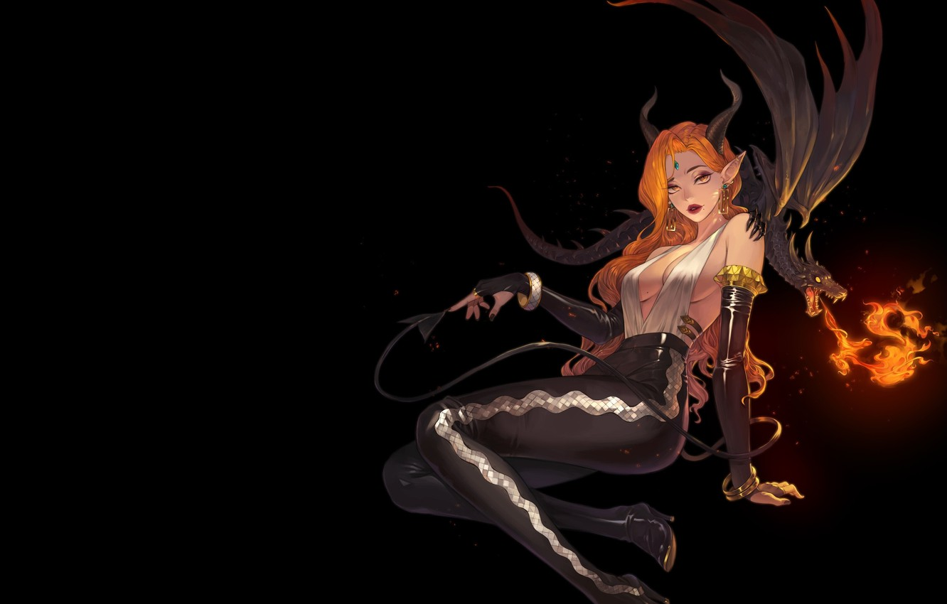 Photo wallpaper look, fire, flame, dragon, fantasy, art, horns, black background, demoness