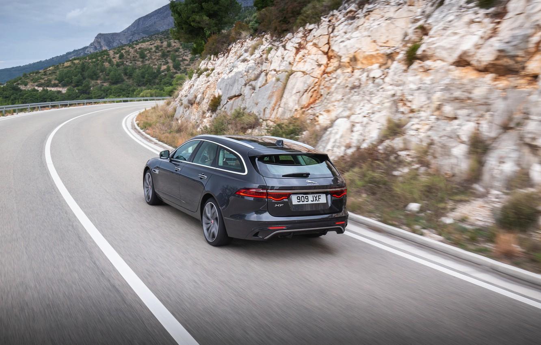 Photo wallpaper road, movement, Jaguar, back, universal, Jaguar XF, 2020, XF, XF Sportbrake, before turning