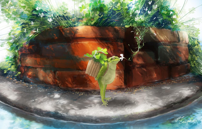 Photo wallpaper leaves, nature, basket, frog, Yoda