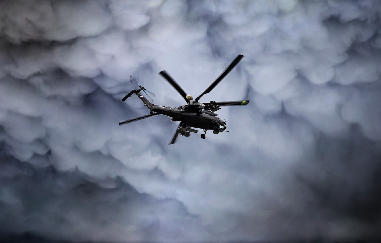 Photo wallpaper The sky, Clouds, Helicopter, Army, Russia, Aviation, BBC, Mi-28N, The spoiler, Night hunter, The Russian …