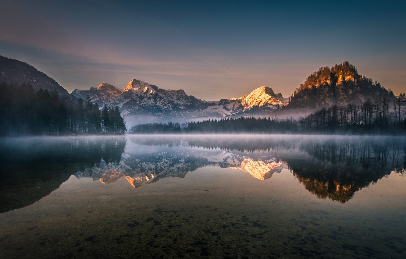 Photo wallpaper forest, the sky, trees, mountains, lake, reflection, dawn, Austria, Gregor Thelen