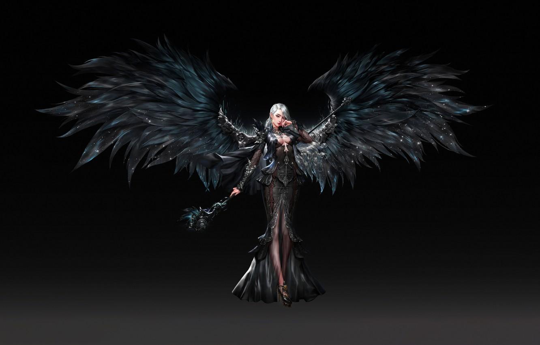Wallpaper Girl Minimalism Angel Girl Wings Fantasy