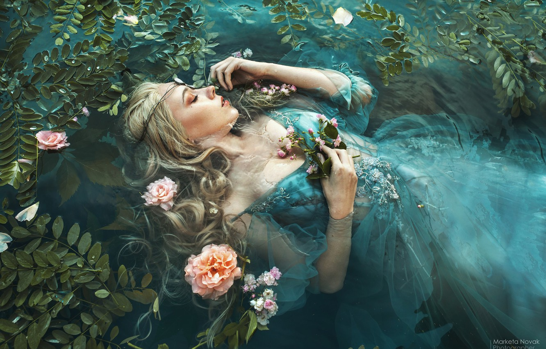 Photo wallpaper leaves, water, girl, flowers, pose, mood, sleep, the situation, hands, dress, closed eyes, sleeping, Marketa …