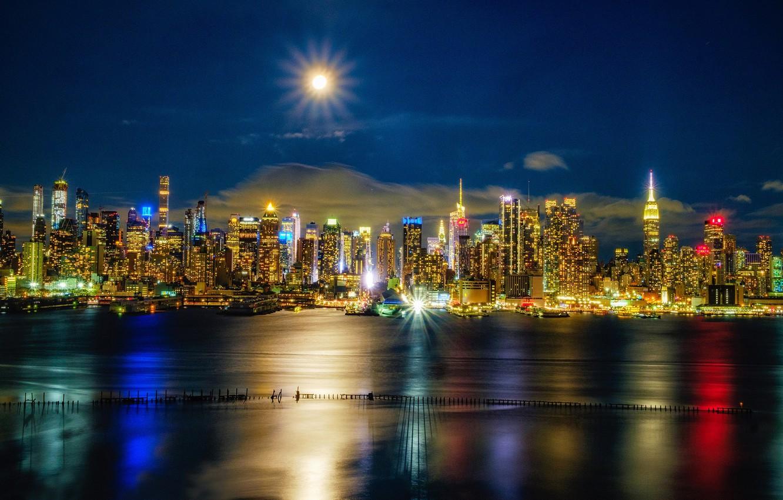 Photo wallpaper river, building, New York, night city, Manhattan, skyscrapers, Manhattan, New York City, Hudson River, The …
