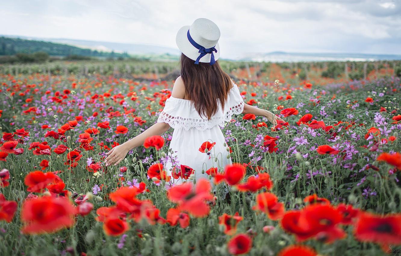 Photo wallpaper field, summer, girl, pose, hair, back, Maki, hat, Xenia, Sergey Shatskov