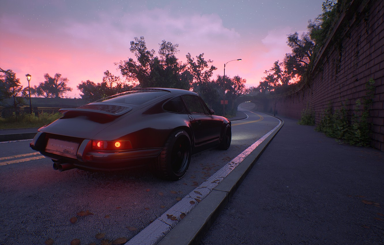 Photo wallpaper road, sunset, car, porsche, auto, Time of Day study