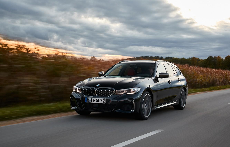 Photo wallpaper black, vegetation, BMW, 3-series, universal, 3P, 2020, 2019, G21, M340i xDrive Touring