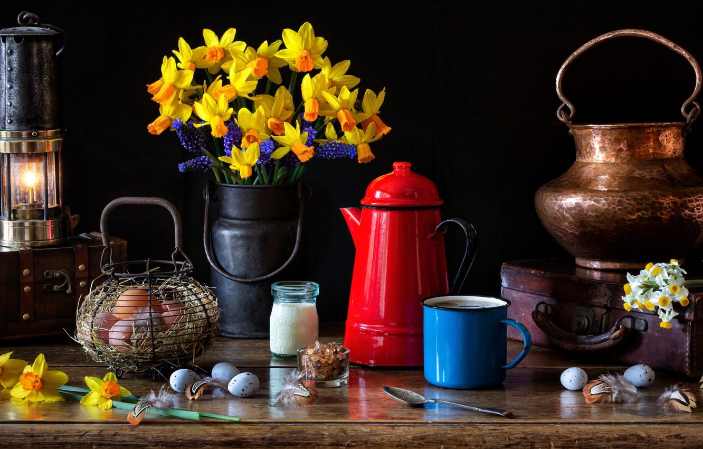 Photo wallpaper flowers, style, lamp, eggs, bouquet, mug, suitcase, still life, basket, daffodils, Muscari, chest, coffee pot