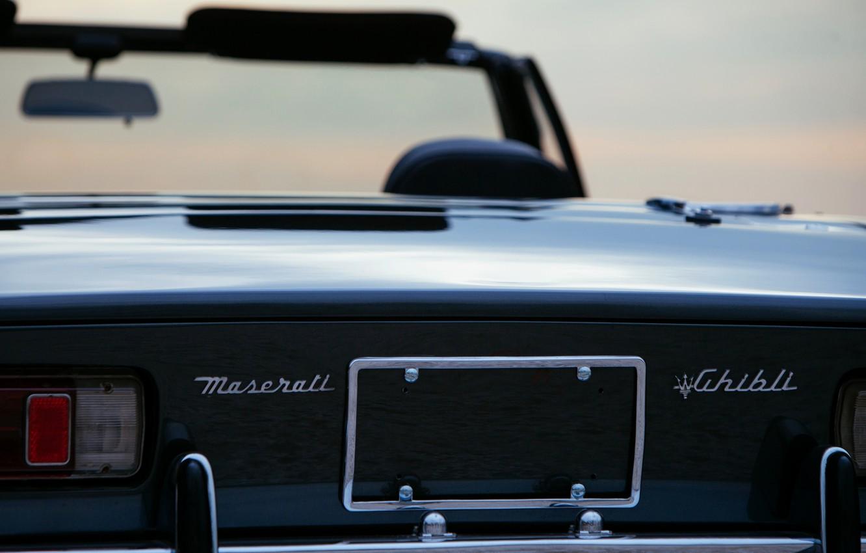 Photo wallpaper black, Maserati, 1969, Roadster, spider, feed, Ghibli Spider