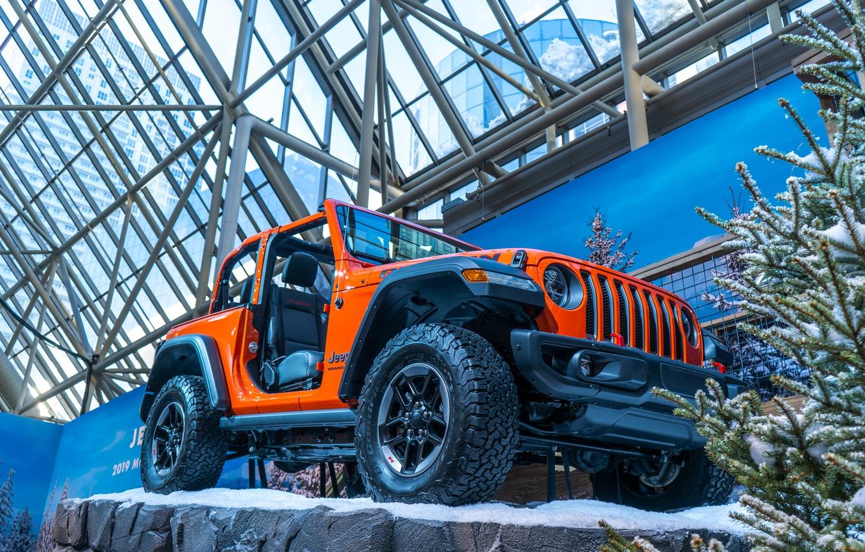 Photo wallpaper car, cars, jeep, orange, track, toronto, 2019, Autoshow