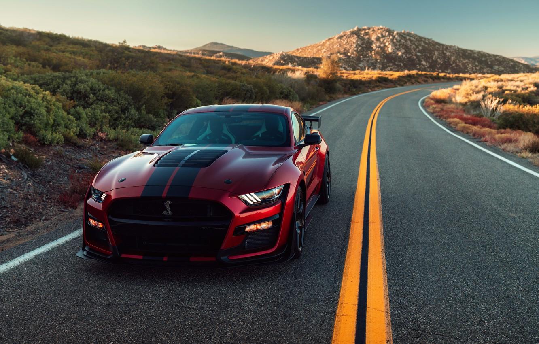 Photo wallpaper road, machine, asphalt, the sun, light, strips, style, markup, hills, lights, Ford, turn, sports, sports …