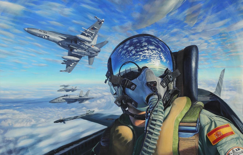 Photo wallpaper the sky, cabin, pilot, painting, pilot, aircraft