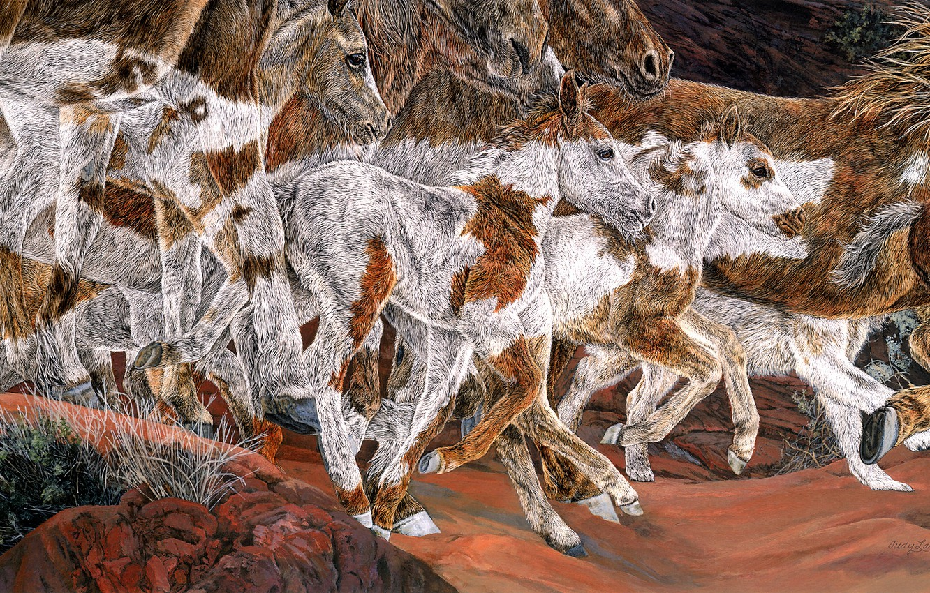 Photo wallpaper stones, figure, graphics, horses, picture, styling, horse, art, running, spot, color, painting, a lot, muzzle, …
