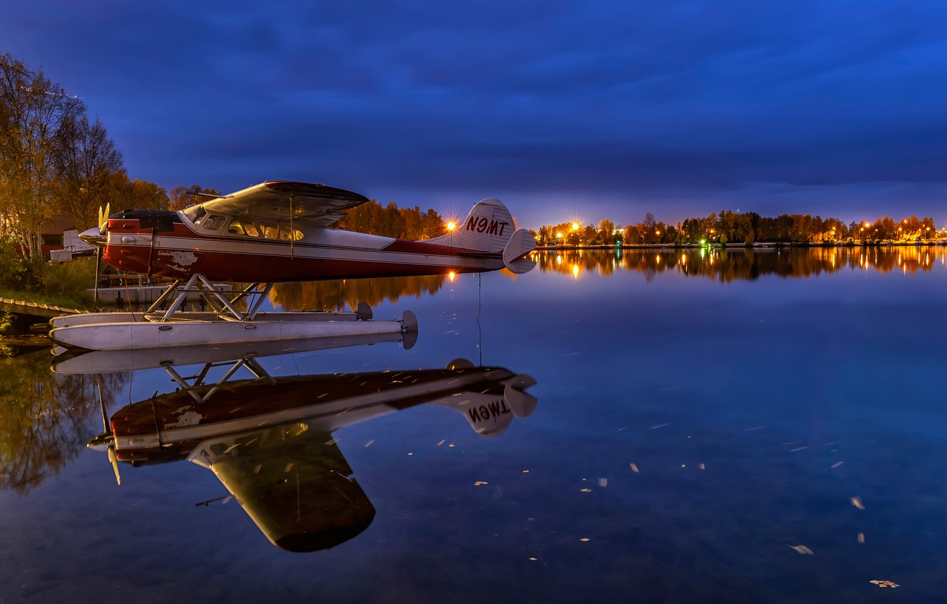 Photo wallpaper the sky, water, trees, lights, lake, reflection, the evening, pier, Alaska, lights, USA, seaplane, Anchorage, …