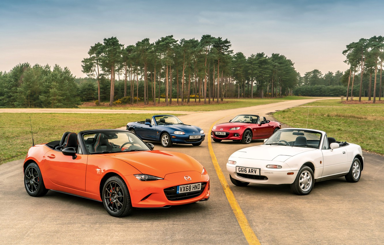 Photo wallpaper Mazda, MX-5, on the road, roadsters, four generations (NA-NB-NC-ND)