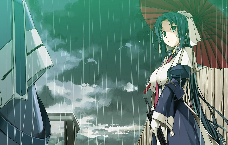 Photo wallpaper girl, rain, umbrella