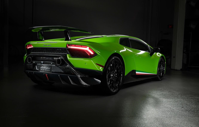 Photo wallpaper lights, Lamborghini, supercar, rear view, Performante, Huracan