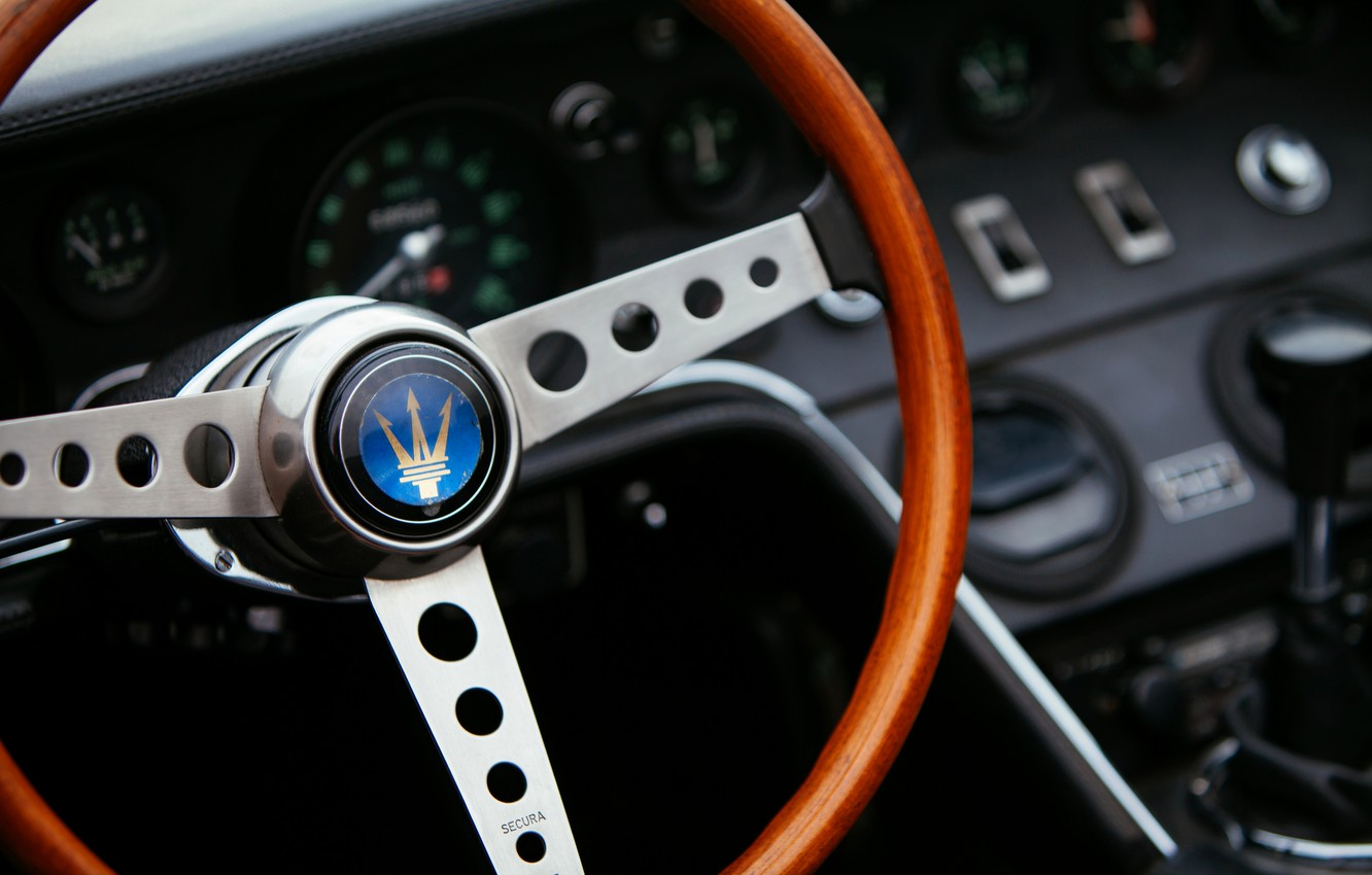 Photo wallpaper black, Maserati, devices, 1969, Roadster, spider, steering wheel, Ghibli Spider