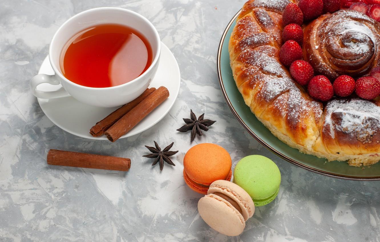 Photo wallpaper berries, tea, pie, mug, Cup, cinnamon, cakes, roll, star anise, pasta