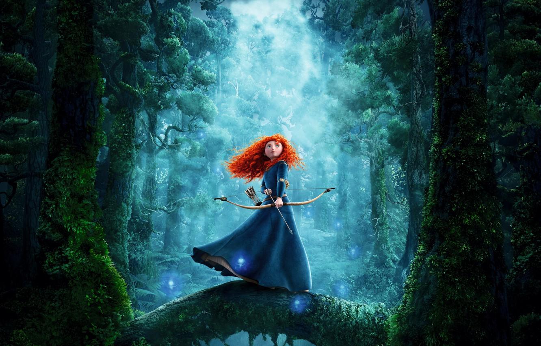 Photo wallpaper fog, moss, bow, Archer, red, arrows, Princess, fairy forest, princess, blue dress, Brave heart, Brave, …