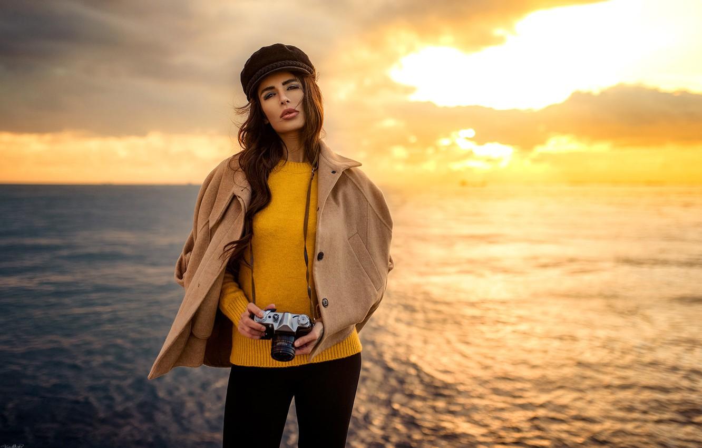 Photo wallpaper sea, the sky, look, landscape, sunset, pose, model, portrait, makeup, figure, horizon, jacket, hairstyle, the …