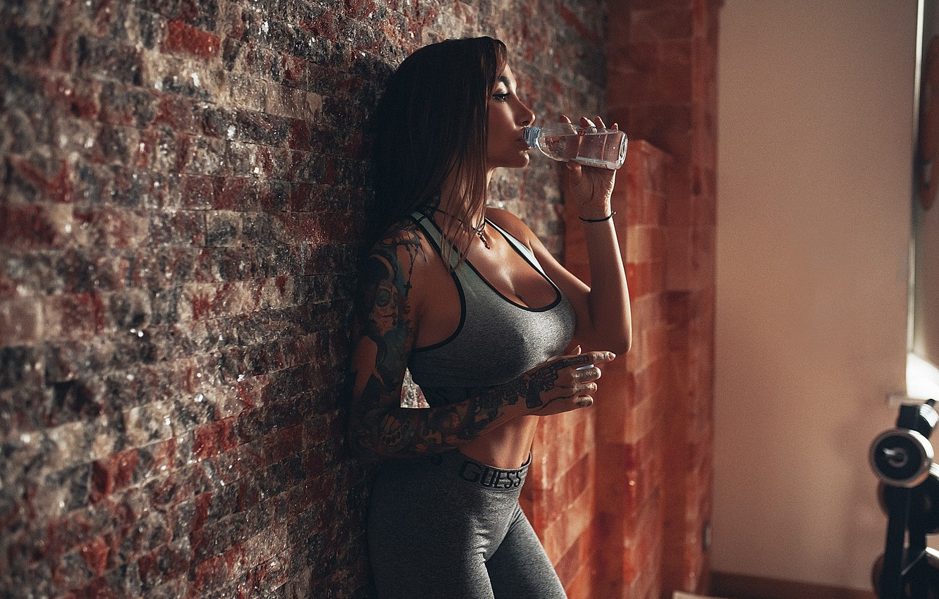 Photo wallpaper Girl, model, pose, chest, fitness, Angelica Anderson, Rome Rome, Mat