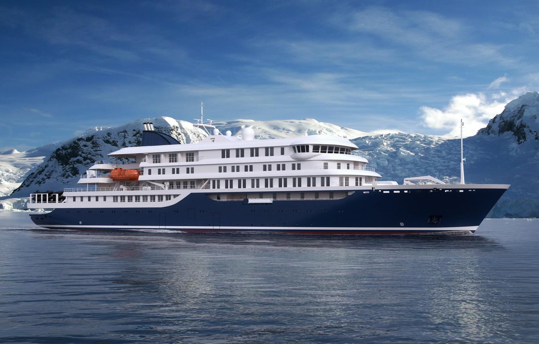 Photo wallpaper The ocean, Sea, Liner, The ship, Rendering, Passenger ship, Cruise Ship, Passenger Ship, Cruise Line, …